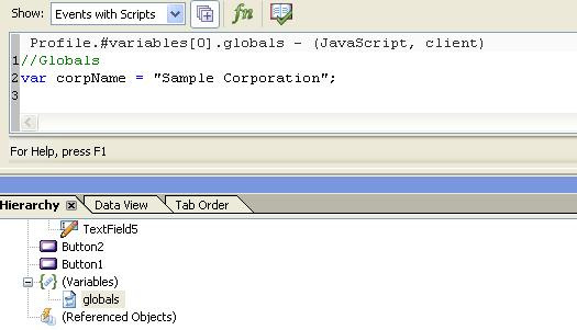 Storing a variable in a script object